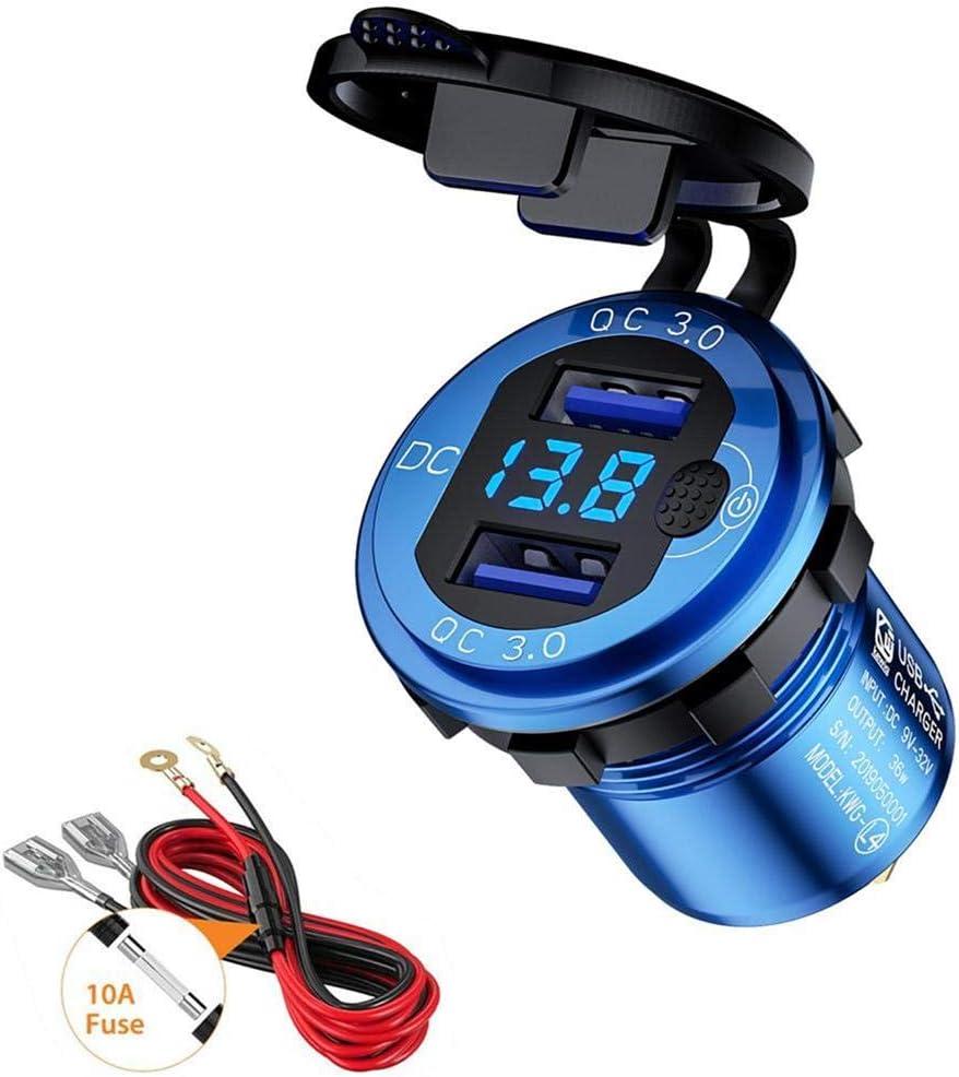 Thlevel USB de Cargador QC3.0 Cargador de Coche Doble Puerto con LED 12V/24V 36W Adaptador Automóvil con botón de Encendido Quick Charge 3.0 para Android, iOS y Otros USB Dispositivos (Azul)