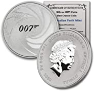 2020 TV 1 oz Silver James Bond 007 BU in CoinFolio Coin Flip w/COA $1 Brilliant Uncirculated