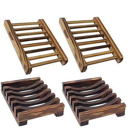 YuCool Juego de 4 jabones de madera para baño, 2 tipos diferentes, para fregadero
