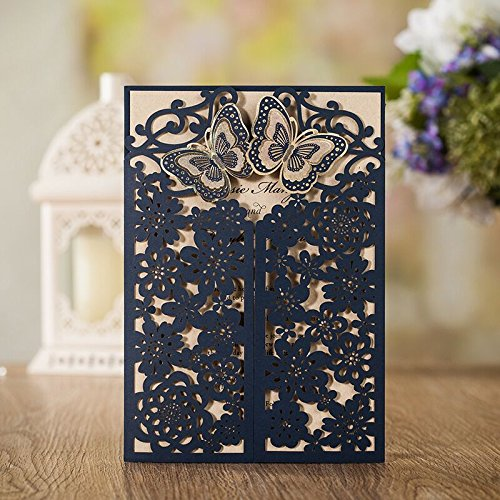 Wishmade 50 Wedding Invitation Cards Laser Cut Floral Butterfly Card Stock Navy Blue with Envelopes, Stickers for Bridal shower, Birthday Card Stock