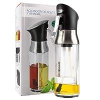 MojiDecor 2-in-1 Oil Sprayer Dispenser Innovation Design,Oil & Vinegar Sprayer/Dispenser/Oil Spray Bottle 200ml Stainless Steel Oil Sprayer for Cooking, BBQ, Salads, Grilling, Frying, Baking, Kitchen
