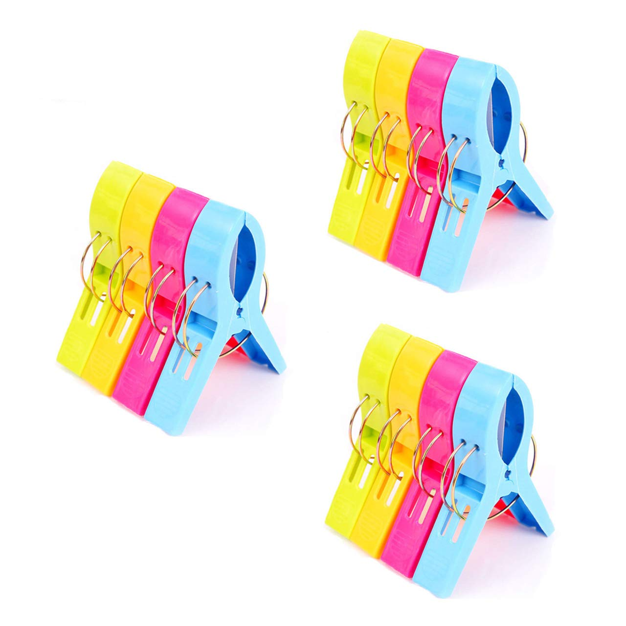 July Miracle Beach Towel Clips, 12pcs Large Size Windproof Plastic Bathroom Towel Clips, Quilt Clamps Clothes Pegs for Pool Chairs, Laundry, Sunbeds and Sun Loungers