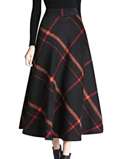 901b60b3e Tanming Women's Winter Warm Elastic Waist Wool Plaid A-Line Pleated Long  Skirt