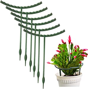 10 Pack Plant Support Plant Stakes, Metal Half Round Plant Support Ring Plastic Plant Cage Holder Flower Pot Climbing Trellis for Small Plant Flower Vegetable,Indoor Leafy Plants, 5.7 x 9.8 Inch
