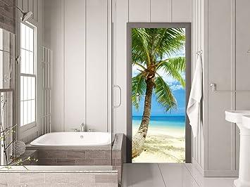 GRAZDesign 791093_67x205 Türtapete Strand mit Palme | Aufkleber für ...