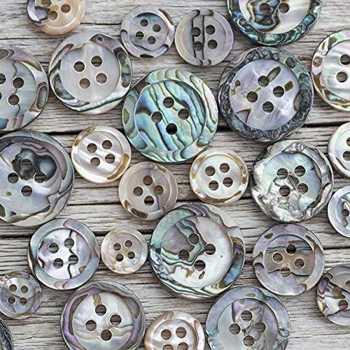 【丸型(定番)】メキシコ貝ボタン#00017 4穴13mm 2個セット