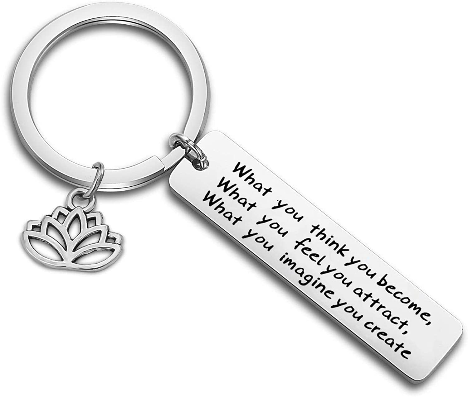 WUSUANED Buddhist Inspirational Quote Keychain What You Think You Become Buddha Jewelry Inspirational Gift