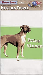 product image for Fiddler's Elbow Prize Winner Boxer Kitchen Towel, 100% Cotton Dog Themed Towel, Eco-Friendly Dish Towel with Hanging Loop, Boxer Lover Gift