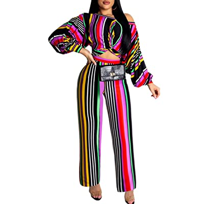 2 Piece Outfits for Women Casual Off Shoulder Lantern Sleeve Stripe Printed Tie Crop Top Long Romper Jumpsuit: Clothing