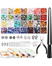 Ring Making Kit with 28 Colors Crystal Beads, Selizo 1660Pcs Crystal Jewelry Making Kit with Gemstone Chip Beads, Jewelry Wire, Pliers and Other Jewelry Ring Making Supplies