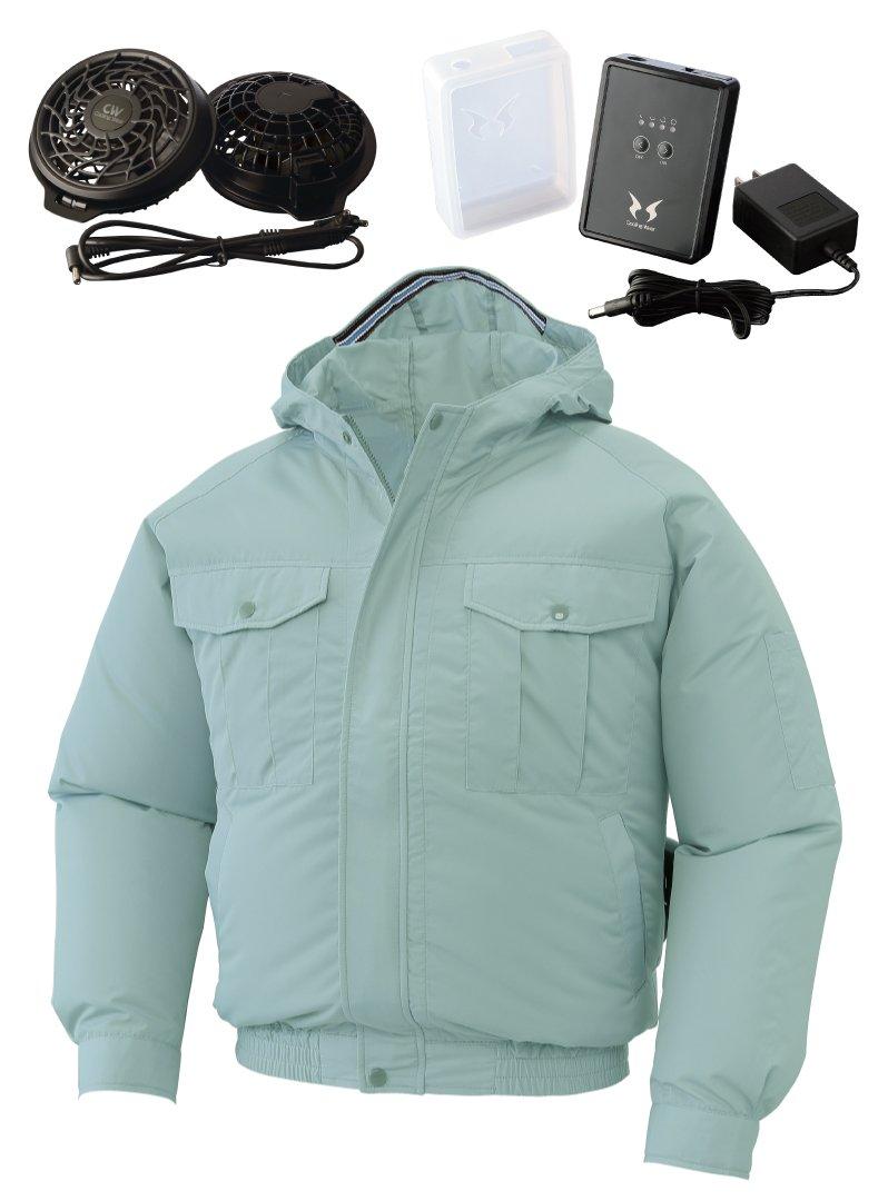 空調服 空調服セット フード付き長袖ワークブルゾン サンエス 空調風神服 KU90810RD B06WVD1BMY XL|7(モスグリーン) 7(モスグリーン) XL