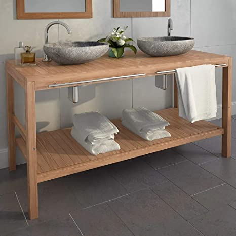 UBAYMAX Armario de baño, Mueble para Colocar Debajo y Lavabo, Mueble tocador Madera Teca