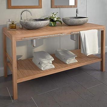 UBaymax Meuble-lavabo de Salle de Bains Teck Massif ...