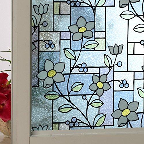 Modern Blue Flowers Decorative Glass Window Films ()