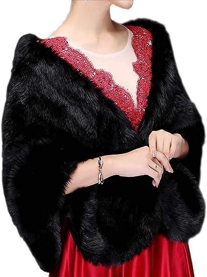 Jovono - Chal - para mujer Chal de Pelo con broche Estola Mujer para Invierno Fiesta Novia Bodas Para dama de honor