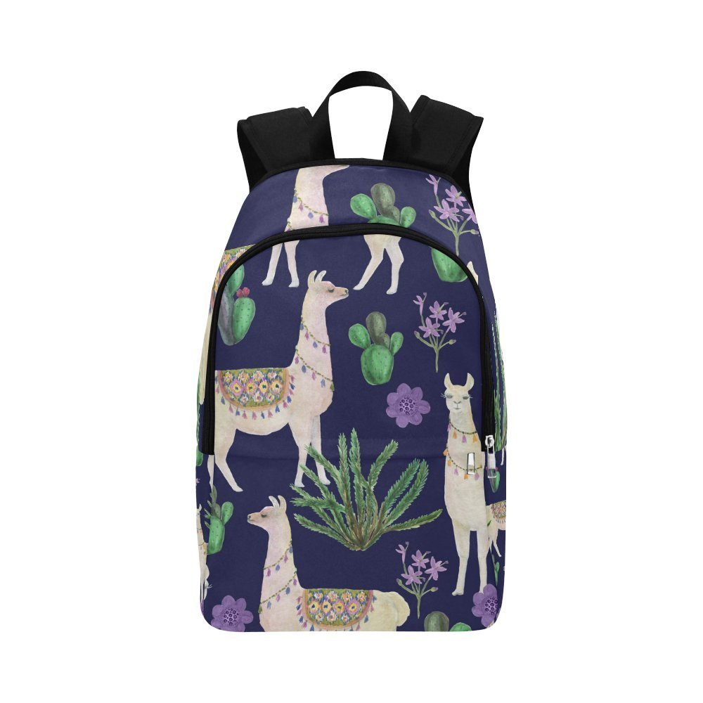 Unique Debora Custom Outdoor Shoulders Bag Fabric Backpack Multipurpose Daypacks for Unisex with Design Seamless Pattern With Llamas And Cacti