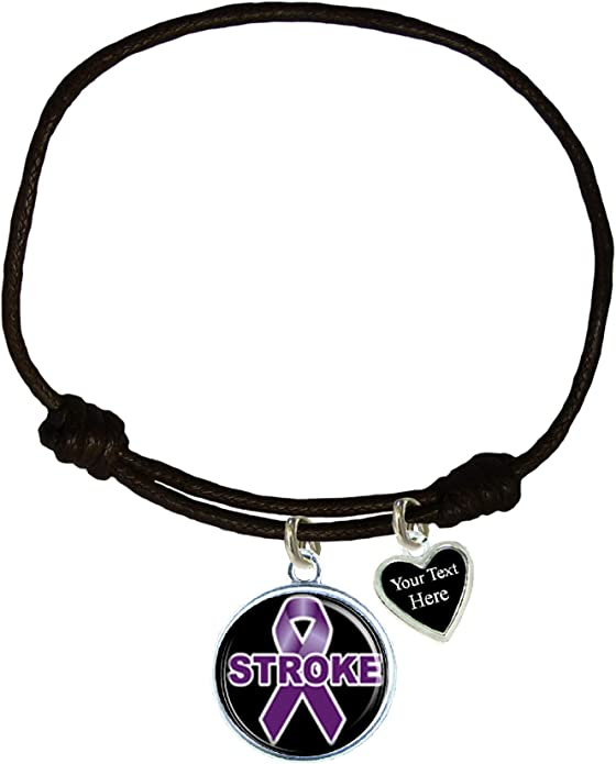 Holly Road Stroke Awareness Black Leather Unisex Bracelet Jewelry Choose Initial