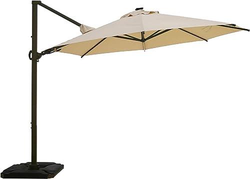 Abba Patio Solar LED 11.5ft Patio Offset Hanging Umbrella 360 Rotating Outdoor Cantilever Umbrella with Crank Base Weight for Garden, Deck, Backyard, Pool, Beige
