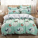 "Bed SET 4pcs Bedding Set Duvet Cover Without Comforter Flat Sheet Pillowcase BC Queen Sheets Set 78""x 90"" Cat Rabbit Cantoon Design for Kids Adults BeddingSet (Queen, Butterfly Love, Green)"