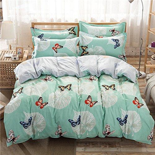 "Bed SET 4pcs Bedding Set Duvet Cover Without Comforter Flat Sheet Pillowcase BC Queen Sheets Set 78""x 90"" Cat Rabbit Cantoon Design for Kids Adults BeddingSet (Queen, Butterfly Love, Green) by Nova"