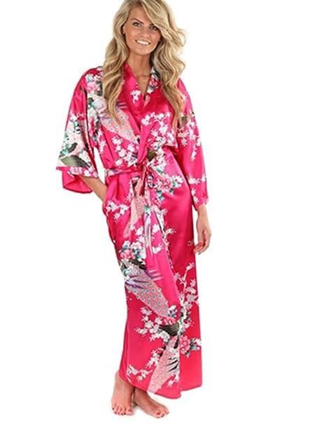 Amazon.com: carmelaa nuevo negro mujer seda kimonos largo ...