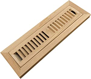 Homewell White Oak Wood Floor Register Vent Cover, Flush Mount Vent with Damper, 2X12 Inch, Unfinished