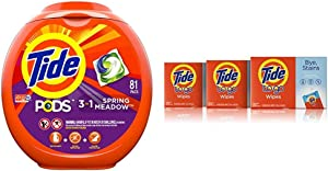 Tide PODS 3 in 1 HE Turbo Laundry Detergent Pacs, Spring Meadow Scent, 81 Count per pack, Packaging May Vary with Tide To Go Instant Stain Remover Wipes, 3 Count, 10 Wipes Each, 3 Count