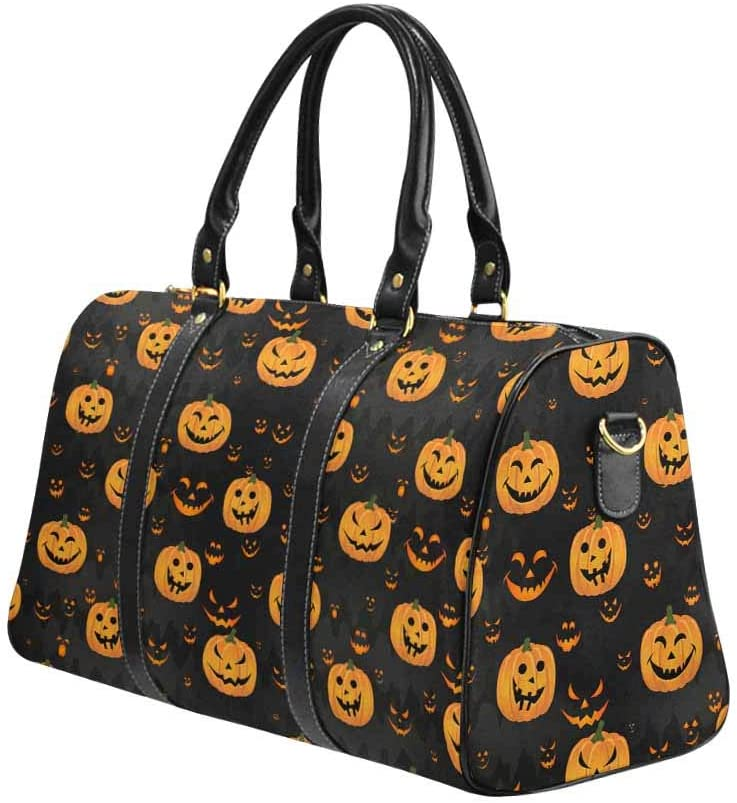 Scary Face Carry-on Garment Bag Travel Bag Duffel Bag Weekend Bag InterestPrint Halloween Pattern With Pumpkin