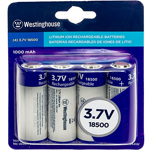 Westinghouse 4 Pack 3.7V 1000 mAh 18500 Rechargable Batteries by Westinghouse