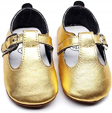 Bebila T-Bar Baby Moccasins Shoes - Genuine Leather Boys Girls Flats withT-Strap Rubber Sole Toddler Summer Sandals