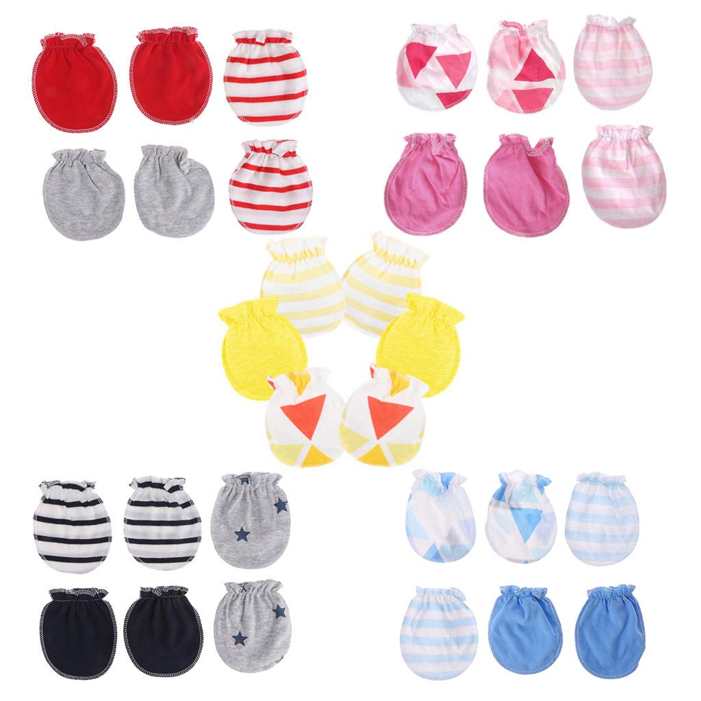 Lamdoo 3Pairs Fashion Baby Anti Scratching Gloves born Protection Face Cotton Scratch Mittens Light Blue