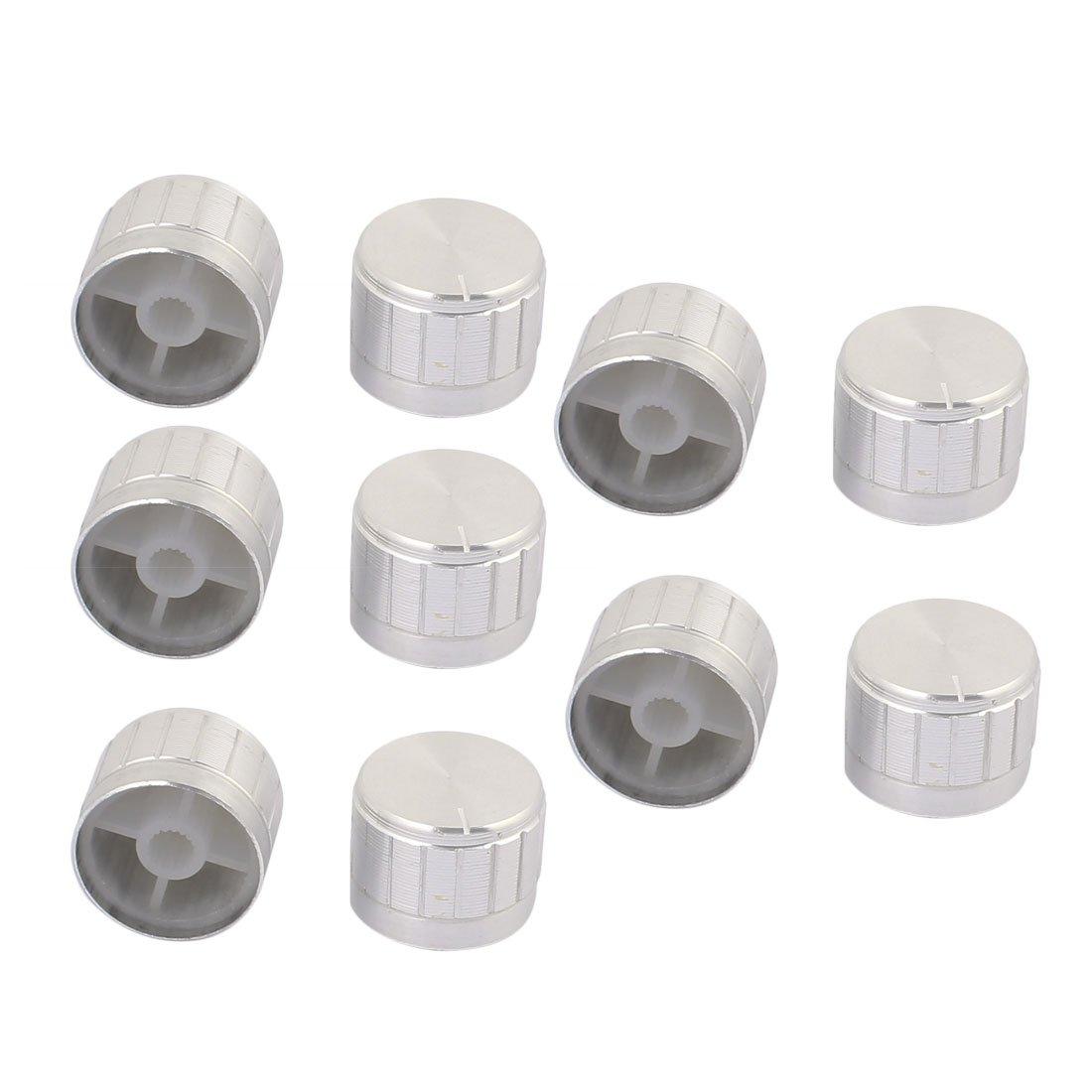 10PCS Black Aluminum 6mm Knurled Shaft Knob For Potentiometer Volume Control