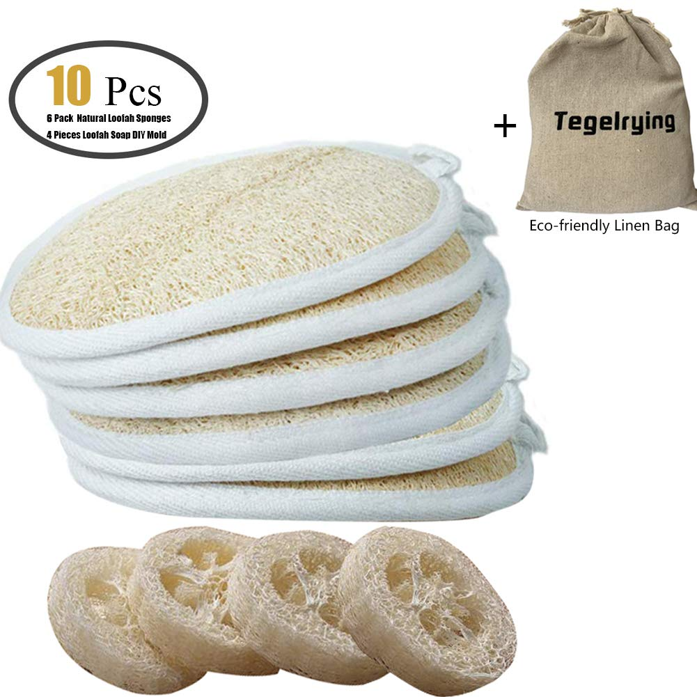 Loofah Sponge Exfoliating Loofah Pads,10 Packs 100% Natural Loofa Large Back Scrubber (6 Pack+4 Pack) Luffa Soap holder Mold for Men Women Bath Shower Body Cleansing,4x6 Inch