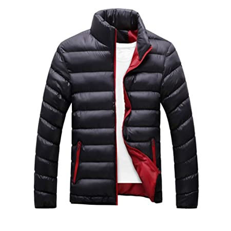 90cba7a63 Men Down Jacket,Familizo Slim Fit Thick Bubble Coat Casual Stand up collar  Outerwear Autumn-winter (M, Black)