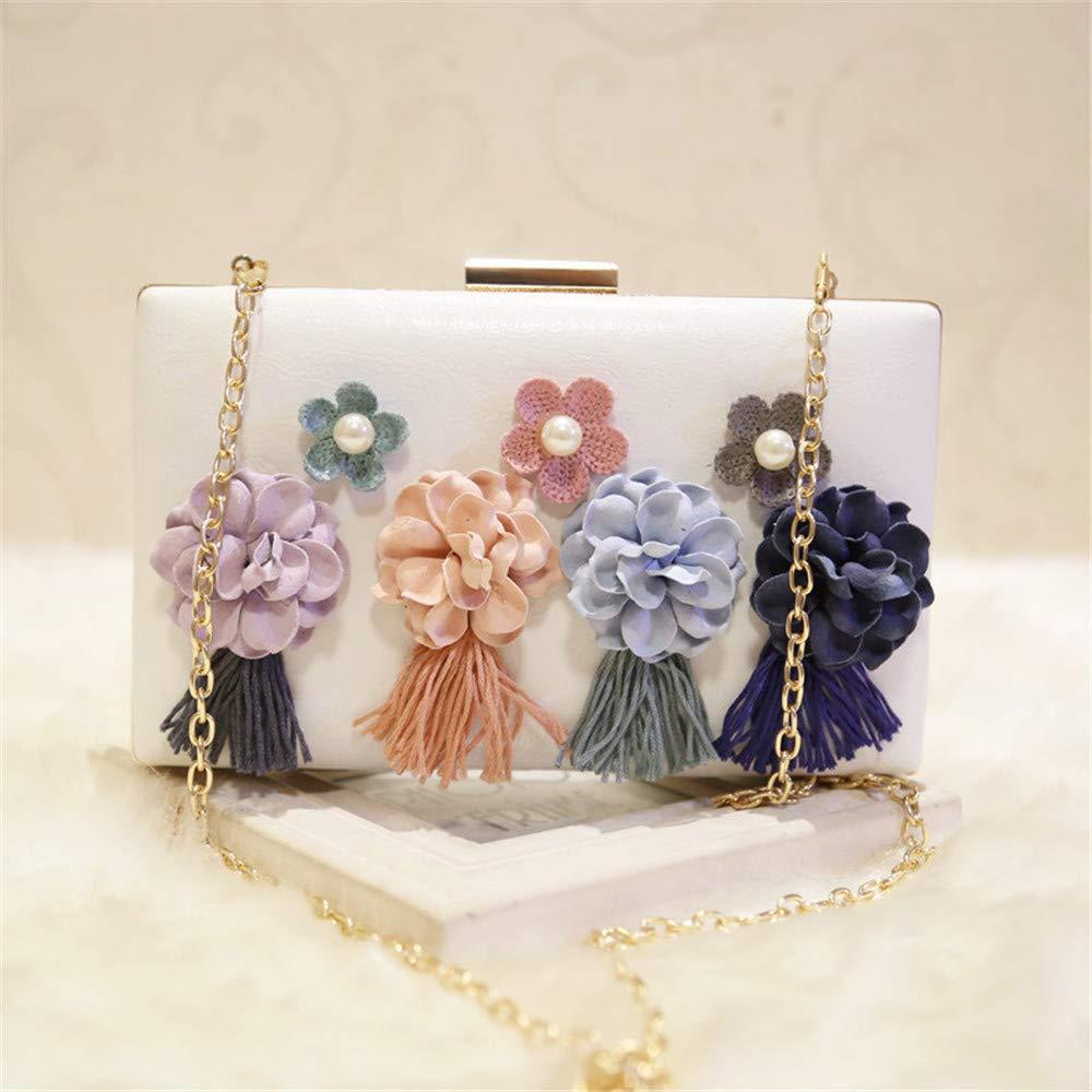 Color : A Techecho Bridal Clutch Purse Womens Zipper Shoulder Diagonal Print Tassel Dinner Dress Bag Frosted Handbag Party