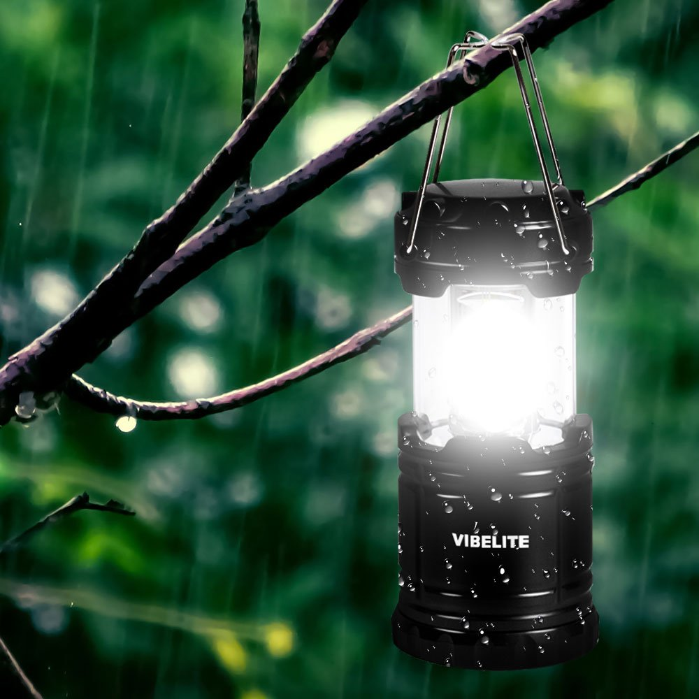 VIBELITE Led Lantern,Camping Lantern Collapsbile COB light with 12 AA Batteries Survival Kit for Emergency IP54 for Hiking Emergencies Hurricanes 4 Pack Black by VIBELITE (Image #6)