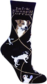 product image for Wheel House Designs Jack Russell Womens Argyle Socks (Shoe size 6-8.5)