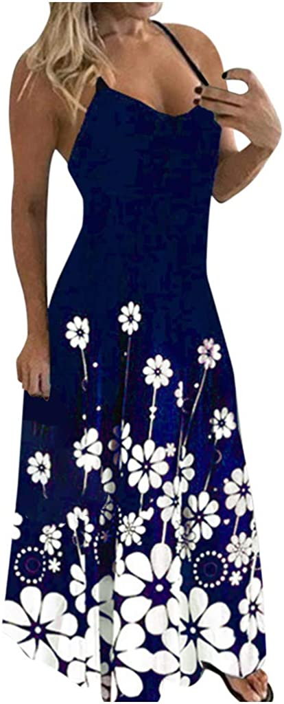 Tupenty Long Maxi Dress for Women, Womens Casual Sleeveless Spaghetti Strap Floral Print Plus Size Loose Party Dress