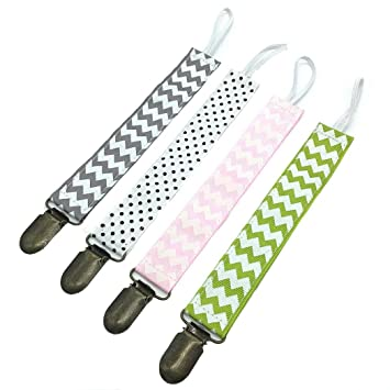 4pcs Infant Pacifier Clip Cotton Toddler Solid Color Teething Clip