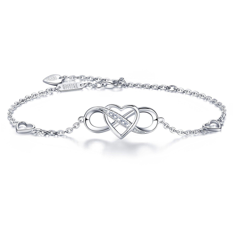 """Billie Bijoux 925 Sterling Silver Infinity Bracelet Forever Love"""" Infinity Heart White Gold Plated Diamond Adjustable Bracelet Best Gift for Women Girls"""