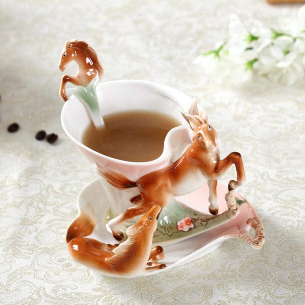 Copa De Vino Taza De Café De Esmalte De Caballo Juego De Tazas De Leche De Té De Porcelana Vajilla De Cerámica Creativa Bone Europea Regalos Creativos De China, Marrón