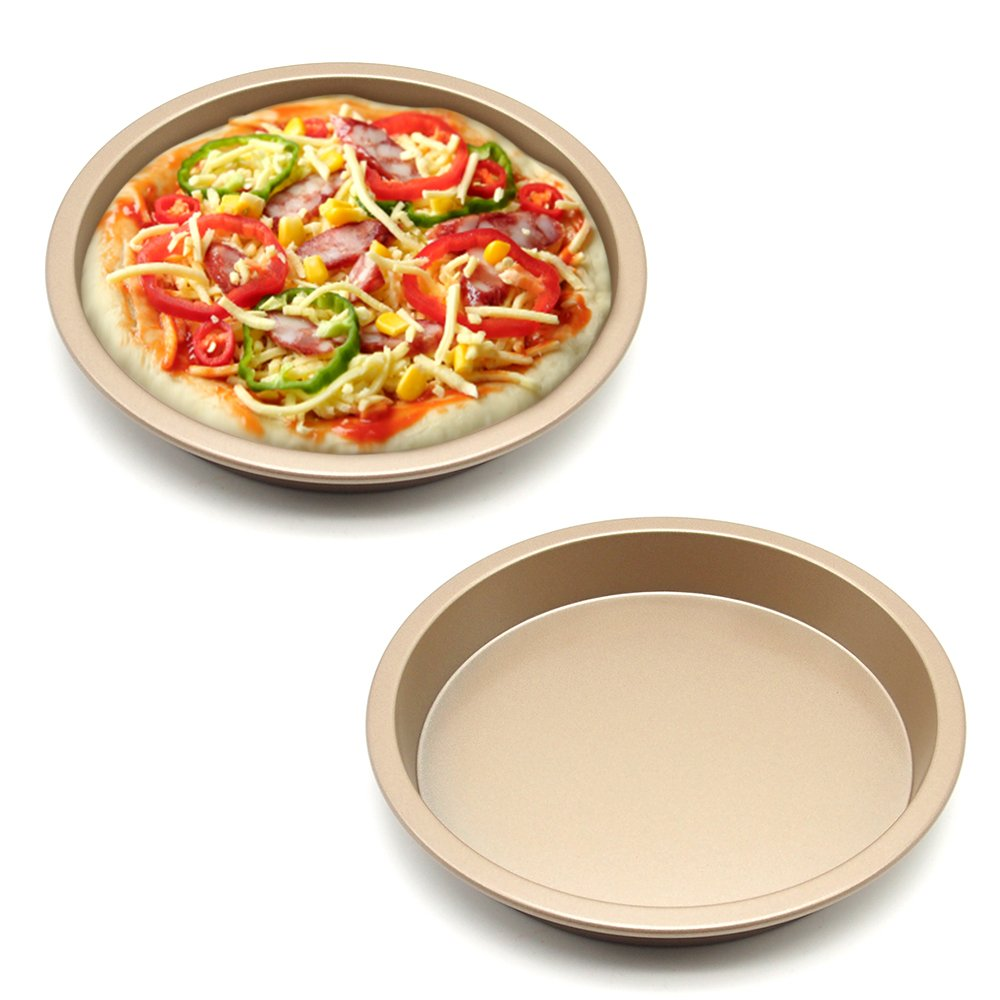 MZCH Non-Stick Quiche Tart Pan, Tart Pie Pan, Round Pizza Pan, Gold, 7 inches