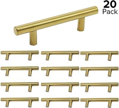 Pomos y tiradores de puerta de acero inoxidable para muebles de cocina Hole Spacing: 64mm acero inoxidable Lat/ón cepillado. 25 unidades