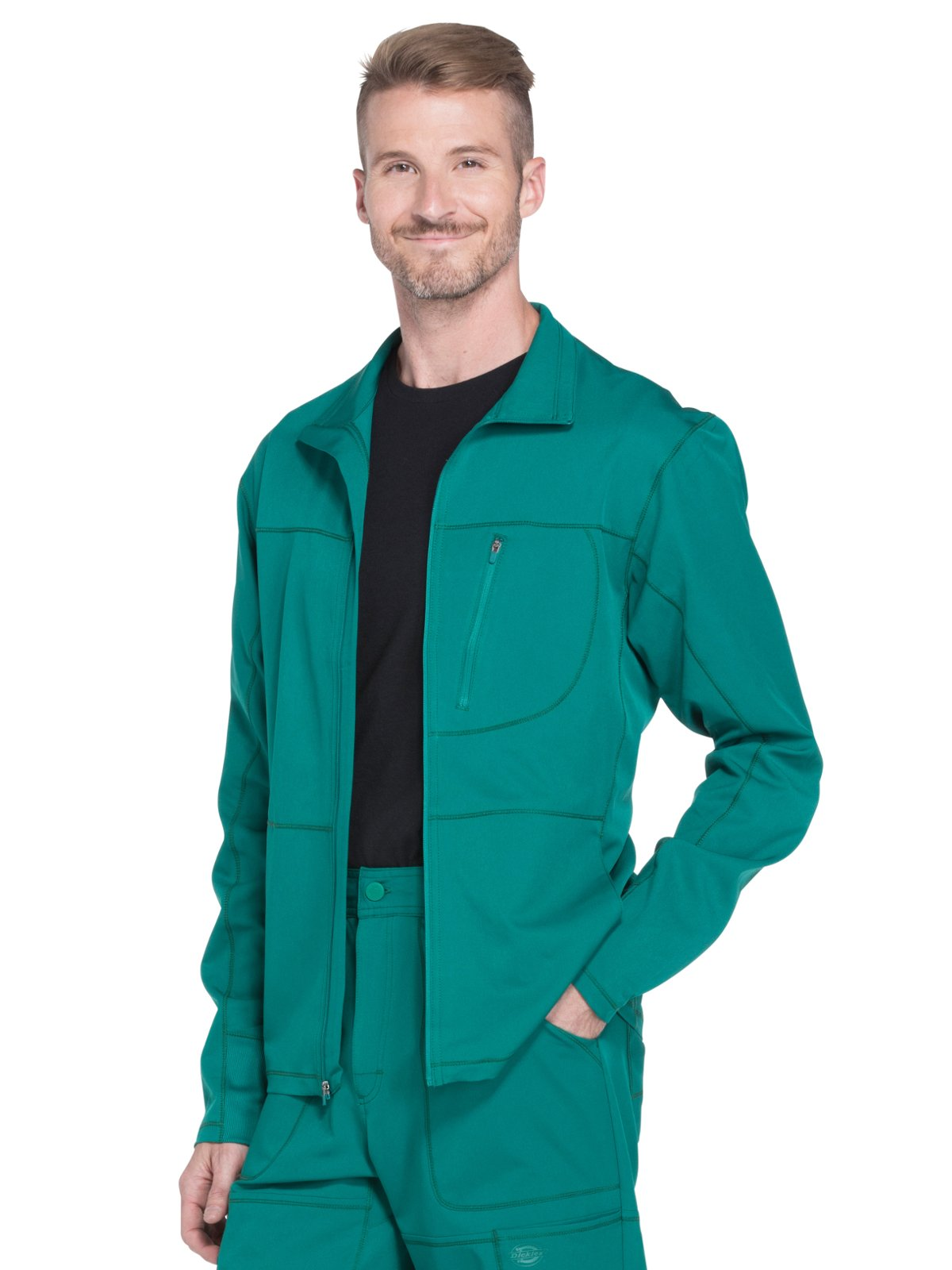 Dickies Dynamix Men's Zip Front Warm-Up Solid Scrub Jacket X-Large Hunter Green