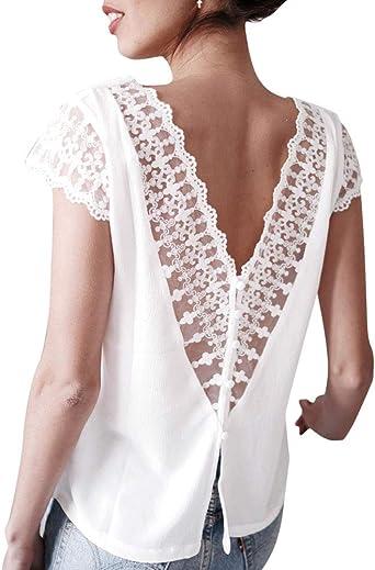 Blusa sin Espalda Sexy para Mujer, Camiseta de Manga Corta con Cuello en V y Costura de Encaje: Amazon.es: Ropa y accesorios