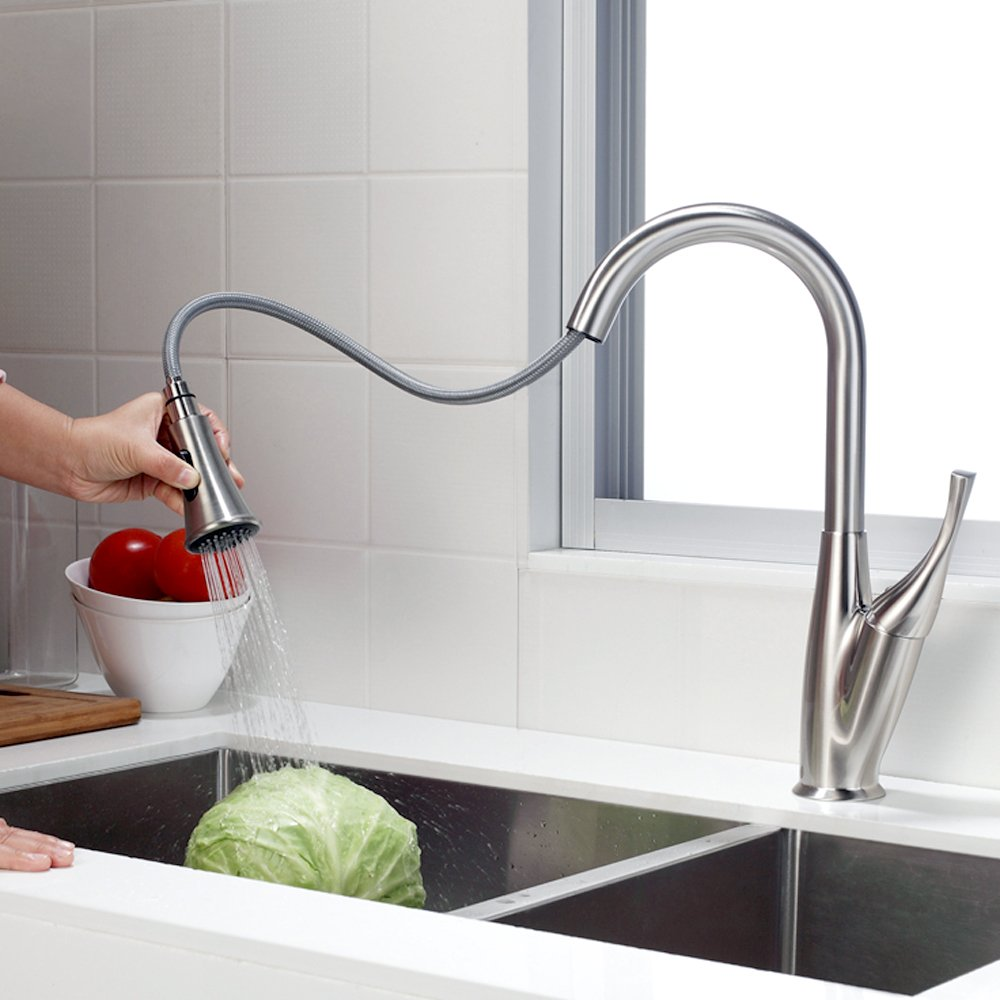 SARLAI Modern Streamline Brushed Nickel Stainless Steel Sprayer Single Lever Single Handle Pull Out Sprayer Kitchen Sink Faucet,Pull Down Sprayer Faucet