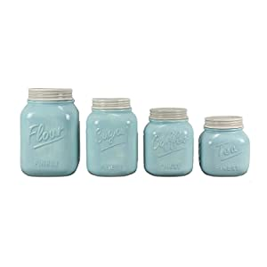 """Young's Home Decor Ceramic Canister (Set of 4), 5.75"""" x 10.75"""" x 5.75"""" (15651)"""