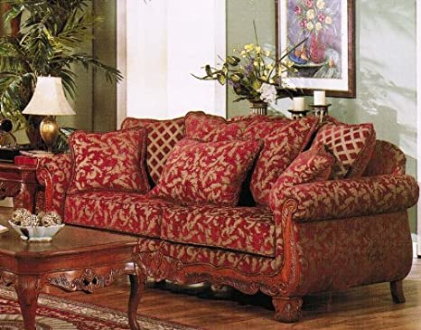 Amazon Com Sofa Couch Burgundy Gold Floral Chenille Fabric