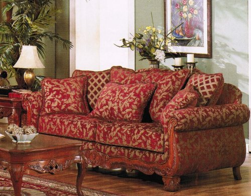 Amazon.com: Sofa Couch Burgundy U0026 Gold Floral Chenille Fabric: Kitchen U0026  Dining