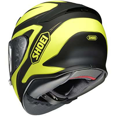 shoei rf-1200 motorcycle helmet black/yellow back.